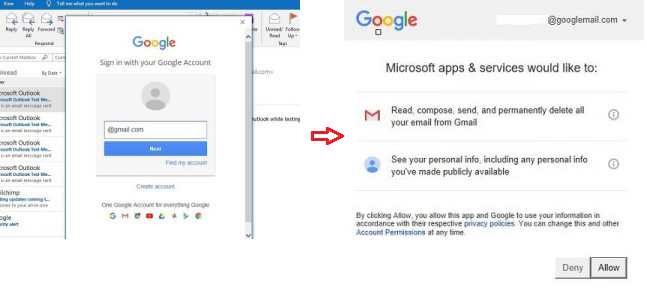 Microsoft Apps Permission to Access Google