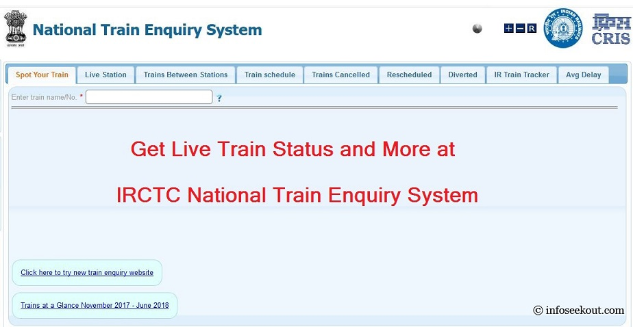 Live Train Status | Live Train Schedule | NTES Train Enquiry