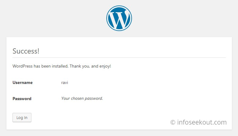 WordPress Installation Success Page